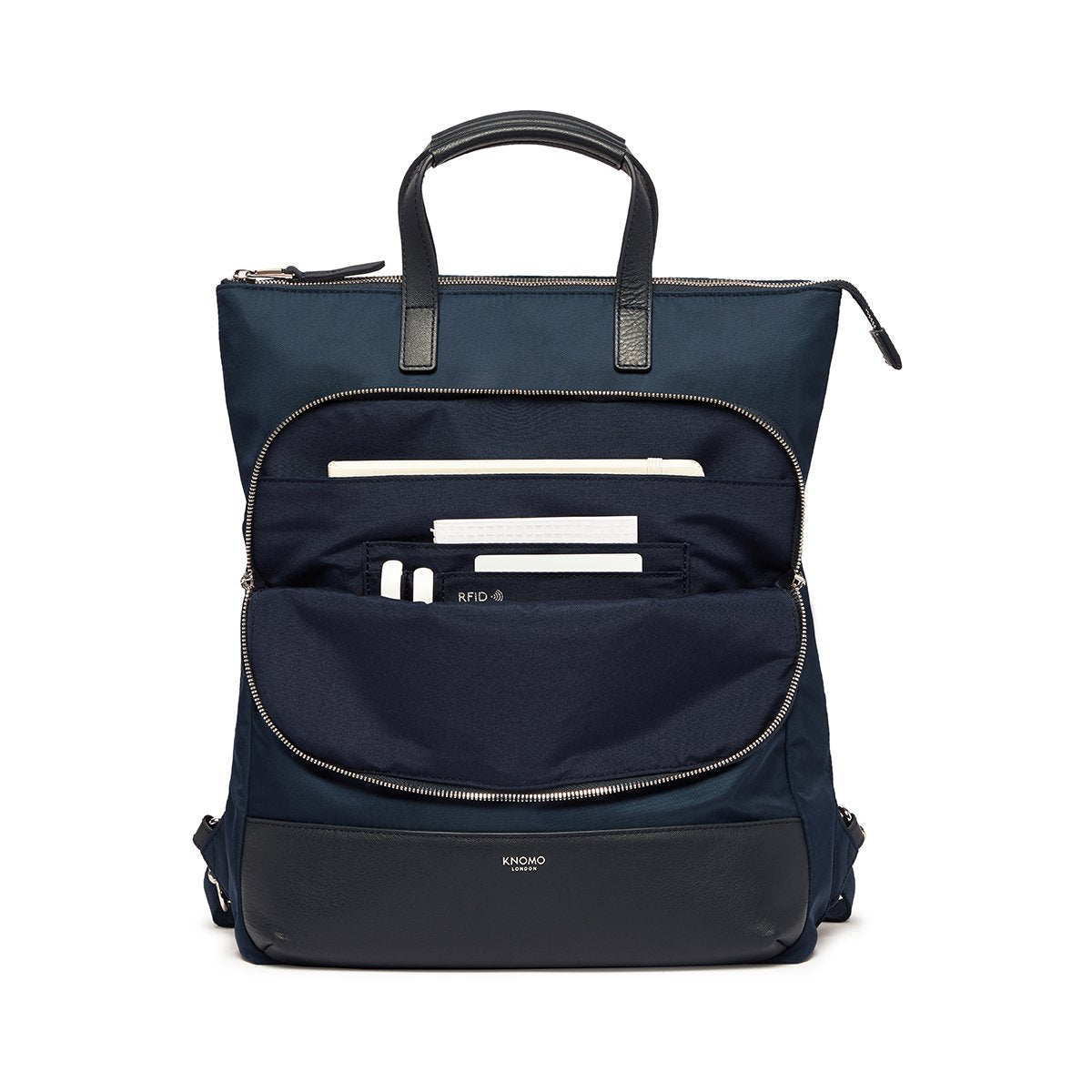 "KNOMO Harewood Laptop Tote Backpack Front Pocket With Items 15"" -  Dark Navy Blazer 