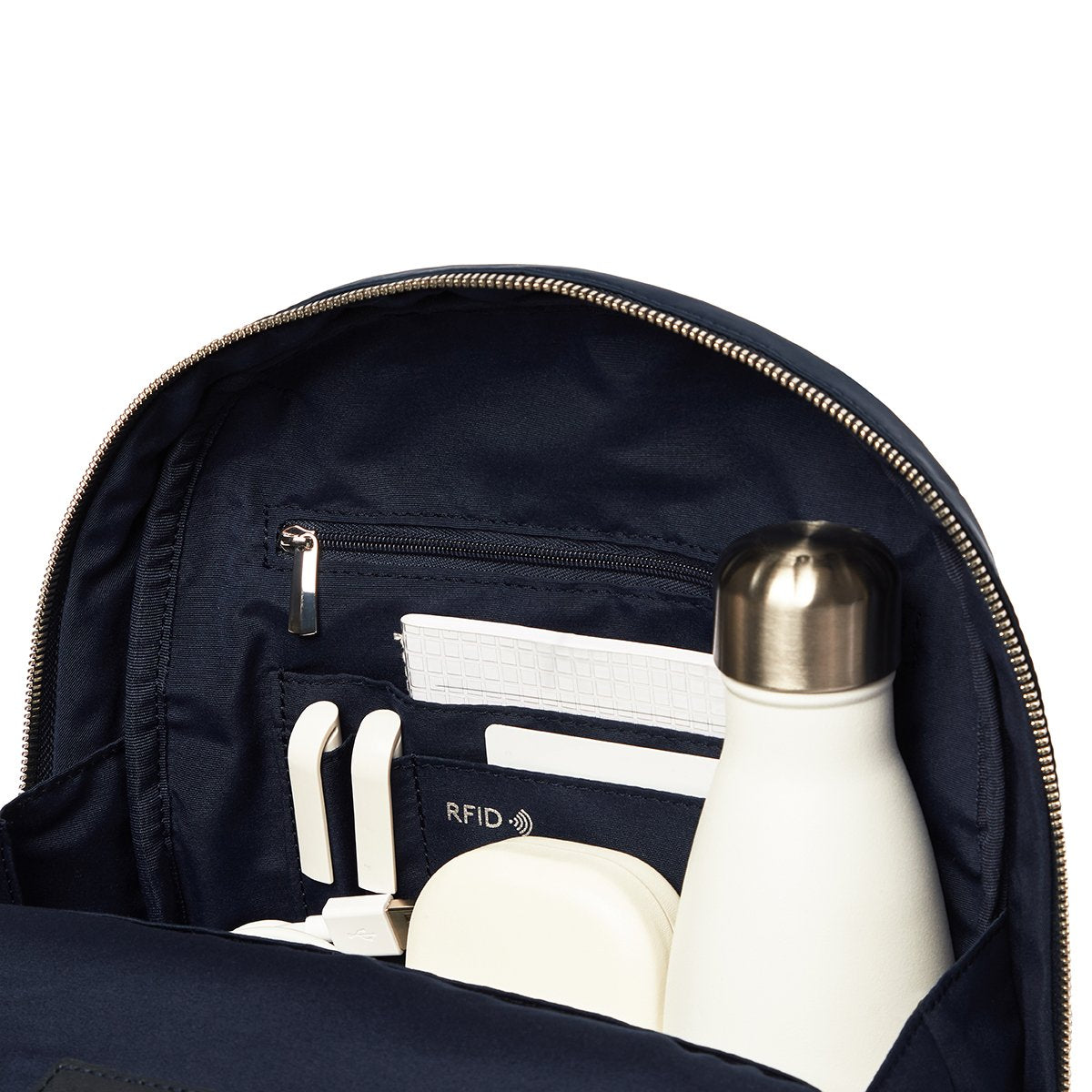 "KNOMO Mini Beaufort Backpack Internal Close Up With Items 12"" -  Dark Navy Blazer 