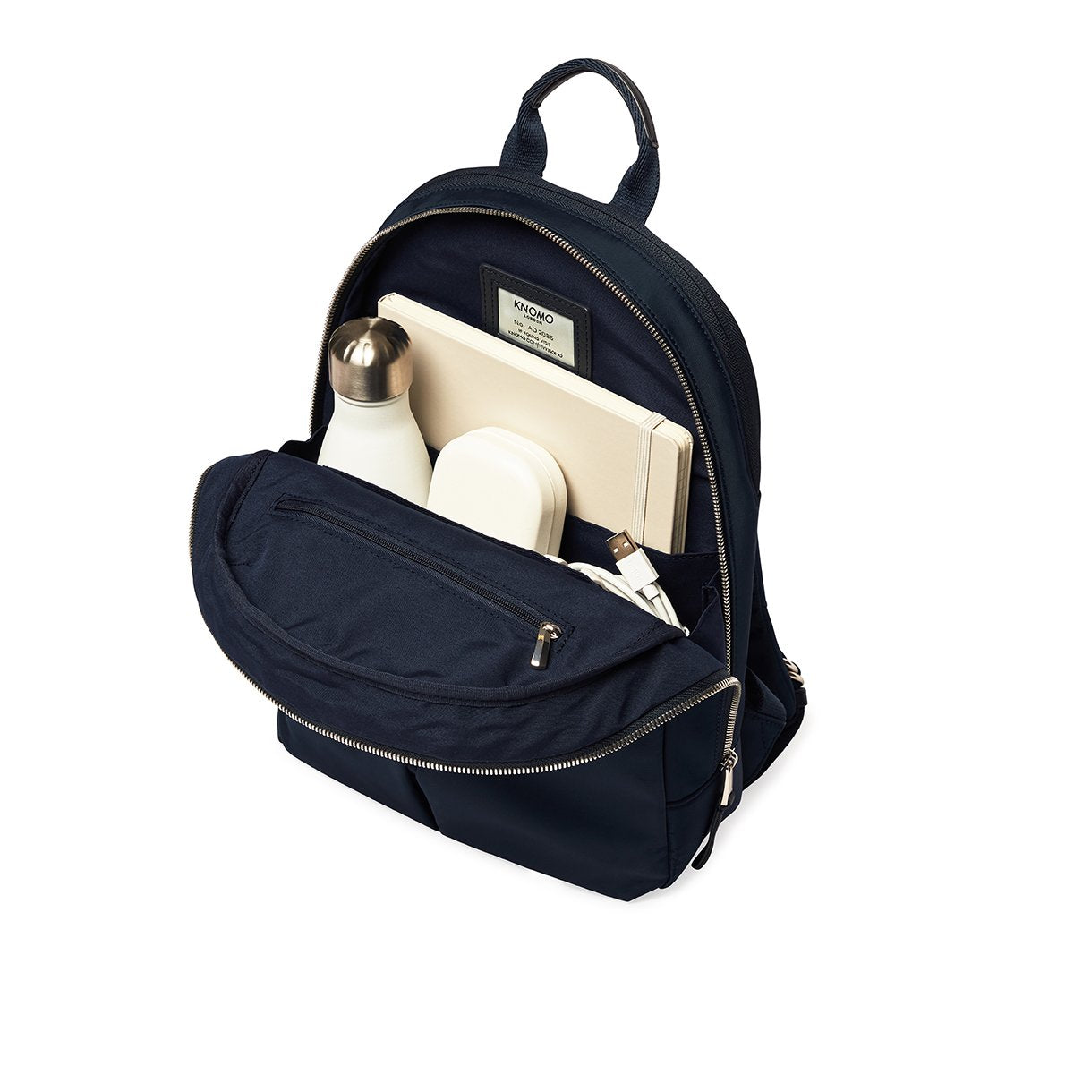 "KNOMO Mini Beaufort Backpack Internal With Items 12"" -  Dark Navy Blazer 