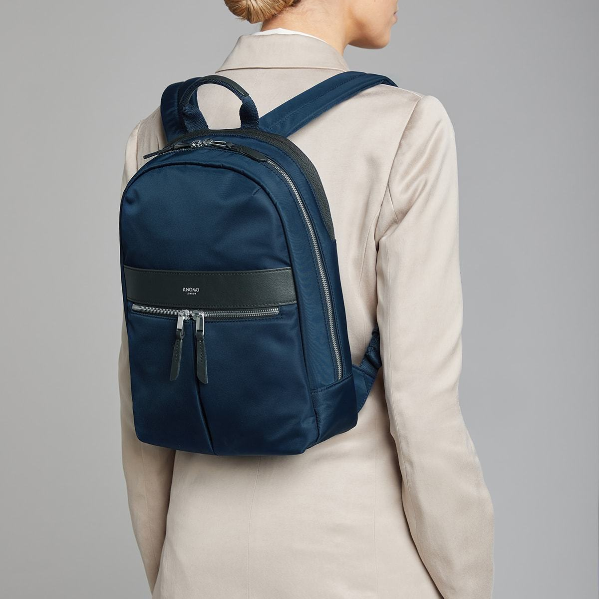 "KNOMO Mini Beaufort Backpack Female Model Wearing 12"" -  Dark Navy Blazer 