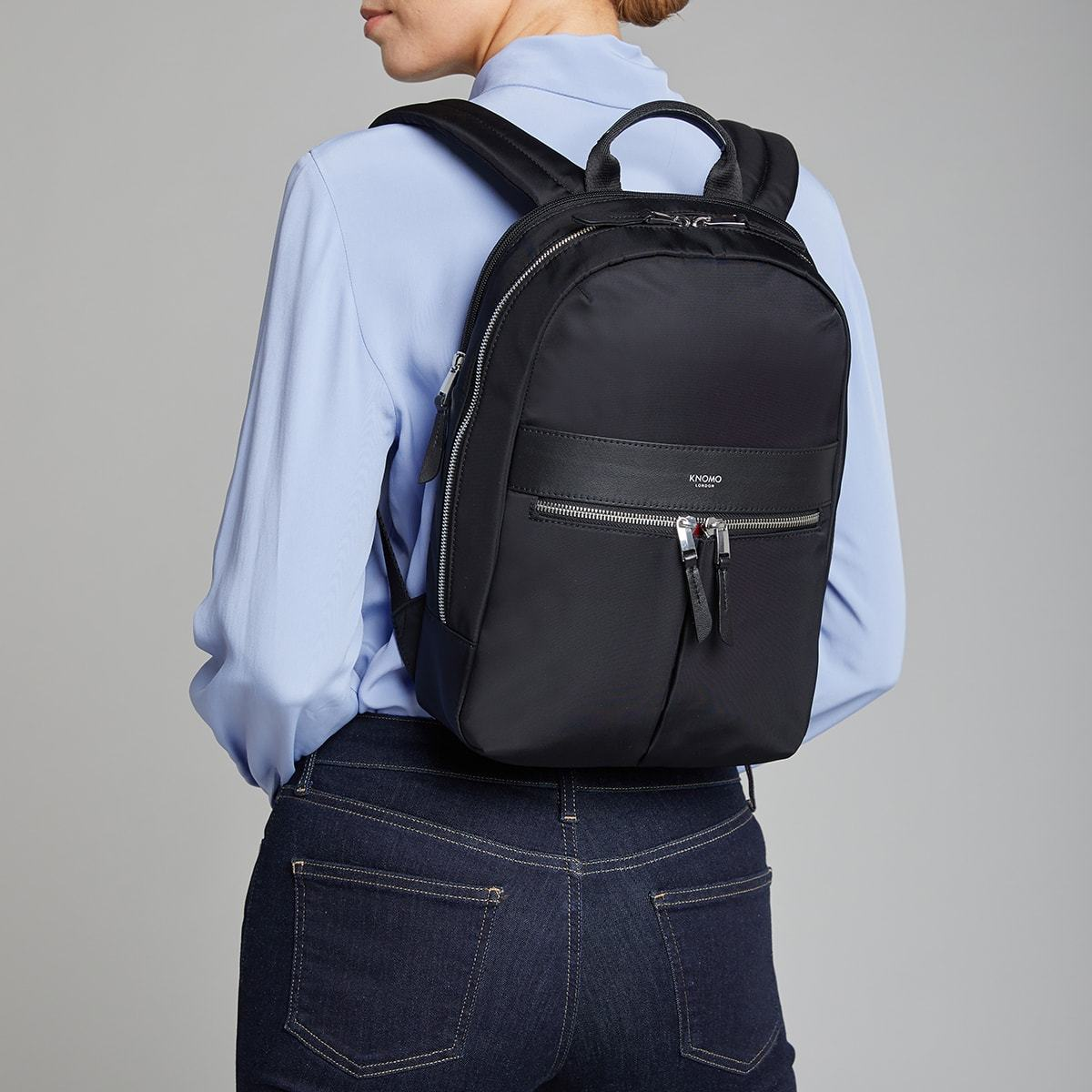 "KNOMO Mini Beaufort Backpack Female Model Wearing 12"" -  Black 
