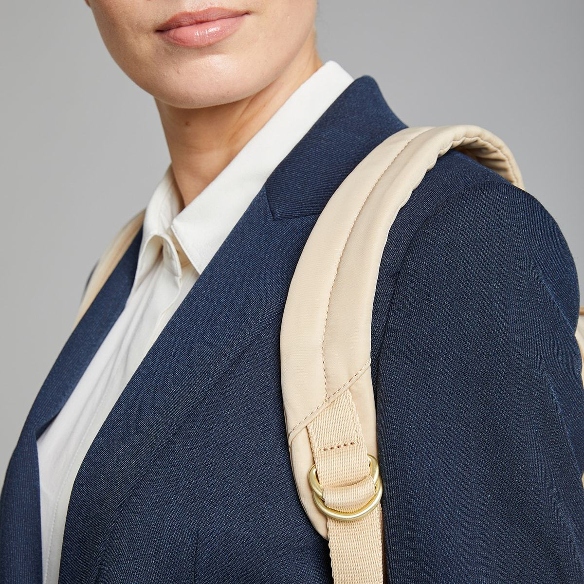 "KNOMO Mini Beaufort Backpack Female Model Close Up Wearing 12"" -  Trench Beige 
