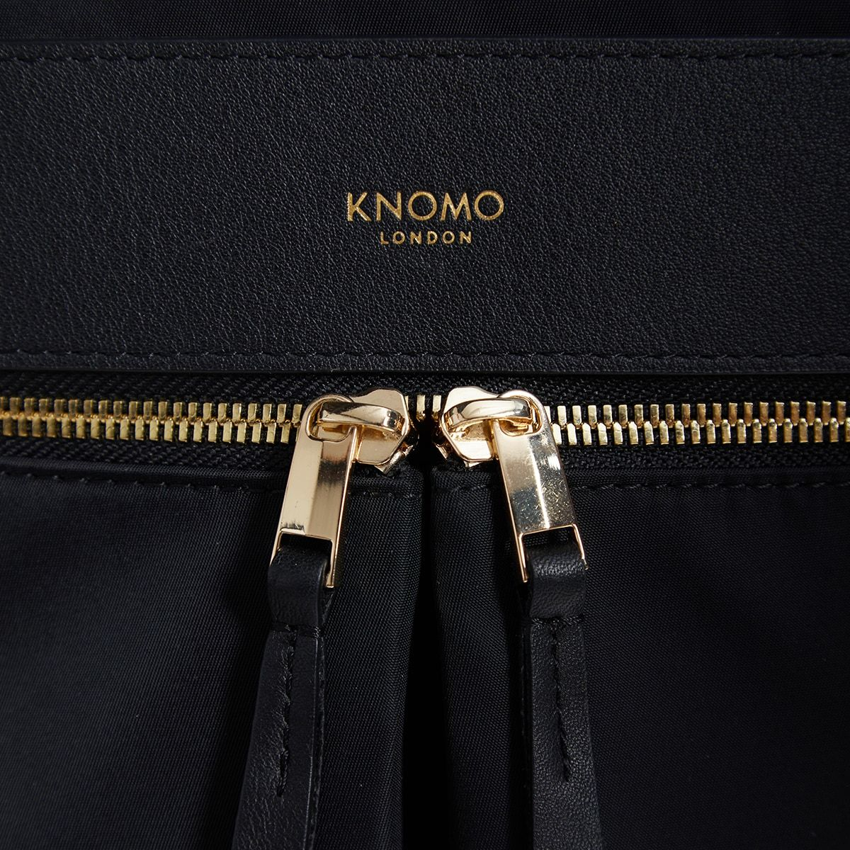 "KNOMO Beauchamp Laptop Backpack Zip Detail Close Up 14"" -  Black 