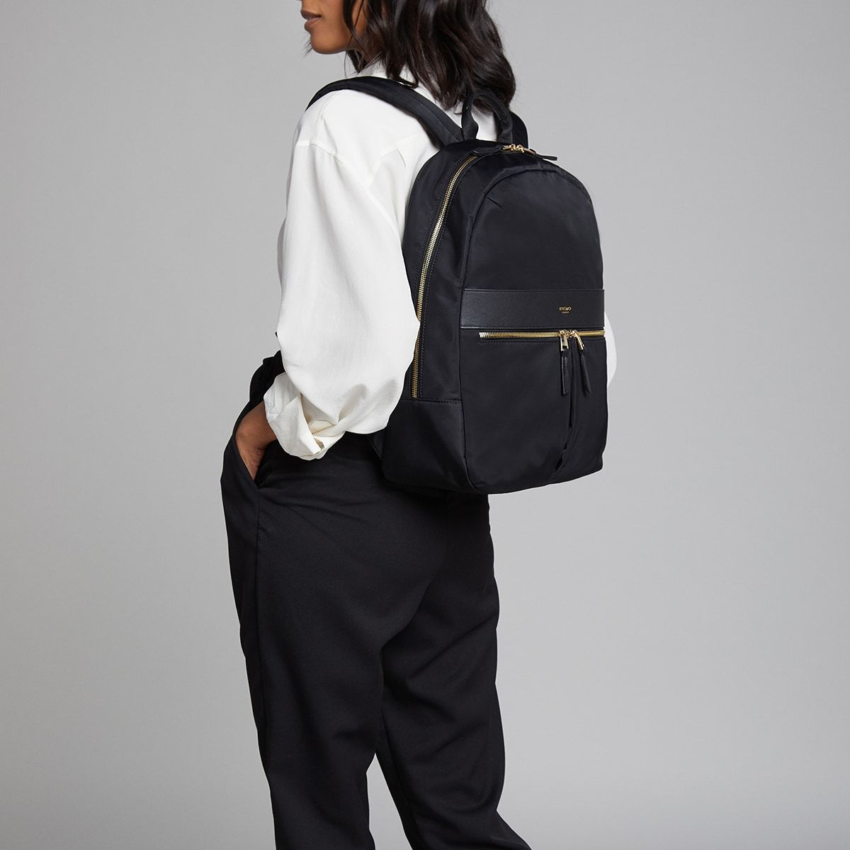 "KNOMO Beauchamp Laptop Backpack Female Model Wearing 14"" -  Black 