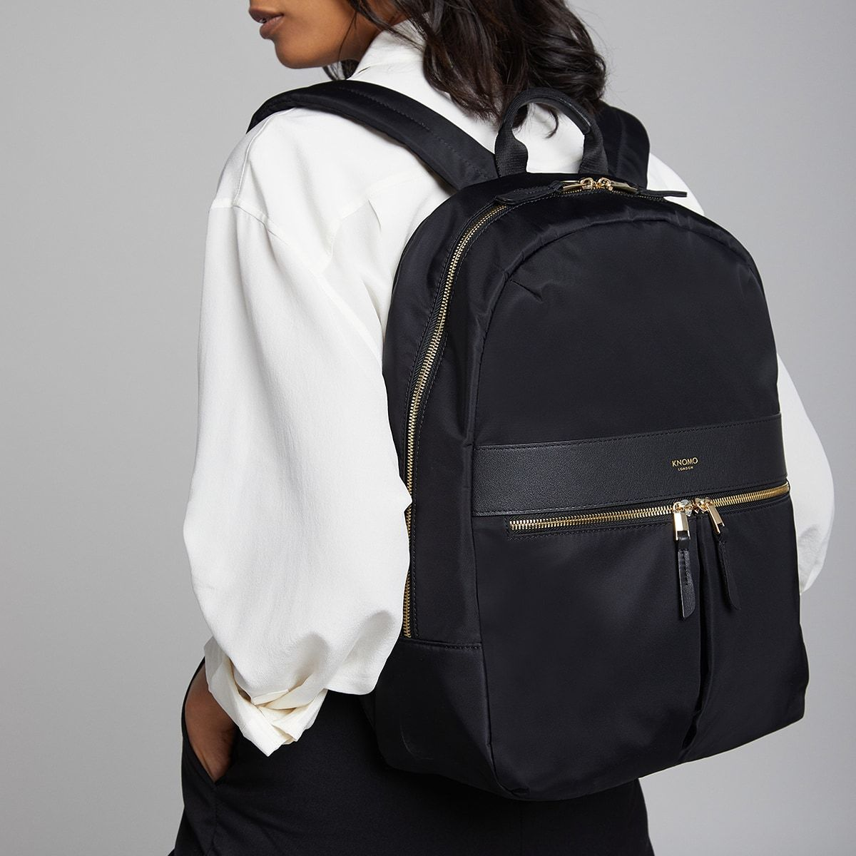 "KNOMO Beauchamp Laptop Backpack Female Model Wearing Close Up 14"" -  Black 