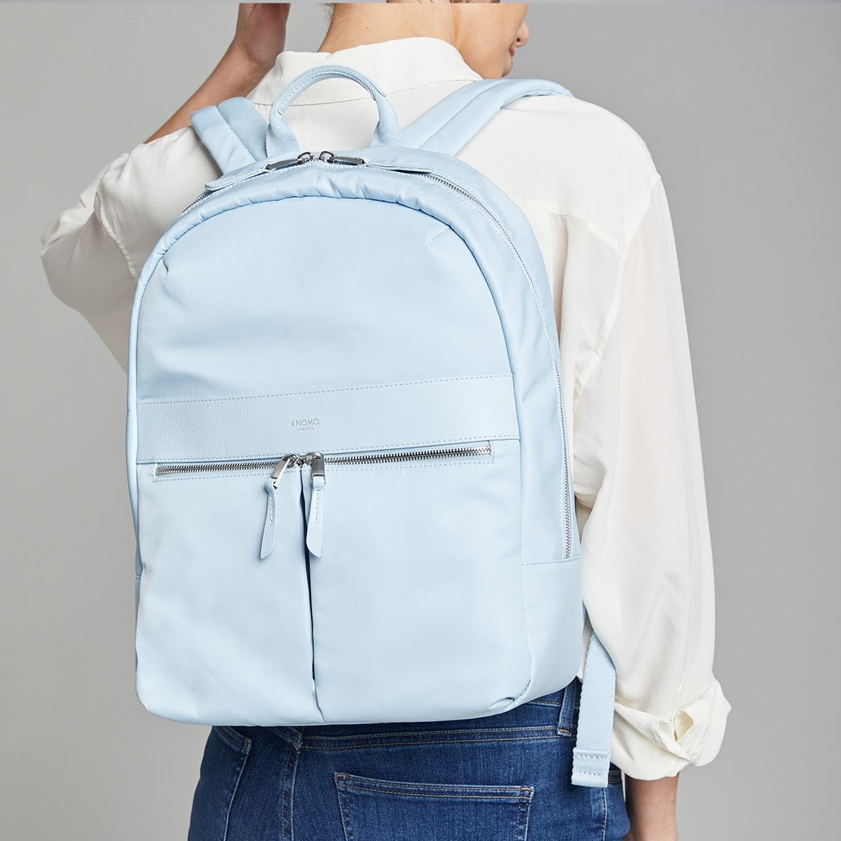 "KNOMO Beauchamp Laptop Backpack Female Model Wearing 14"" -  Poplin Blue 