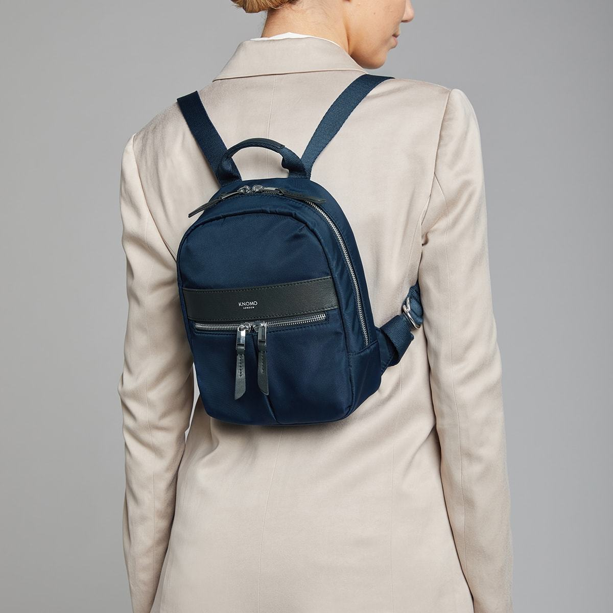 "KNOMO Beauchamp XS Backpack Female Model Wearing 8"" -  Dark Navy Blazer 