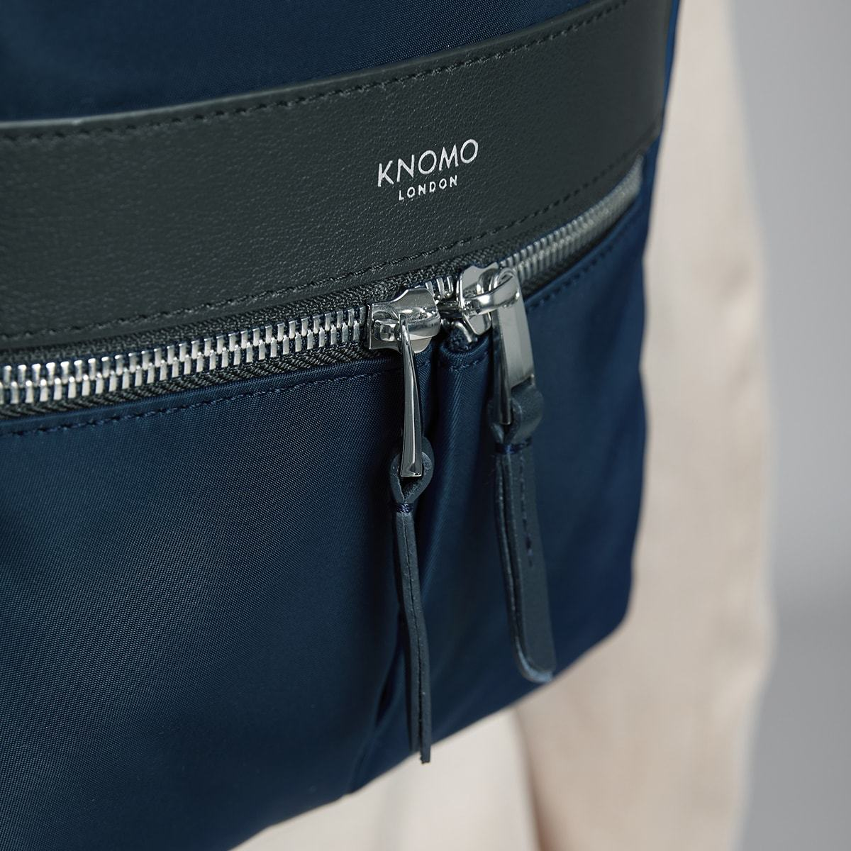 "KNOMO Beauchamp XS Backpack Zip Close Up 8"" -  Dark Navy Blazer 