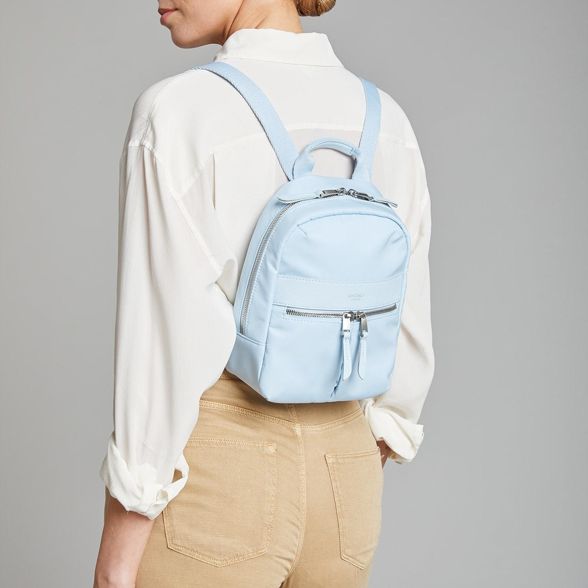 "KNOMO Beauchamp XS Backpack Female Model Wearing 8"" -  Poplin Blue 