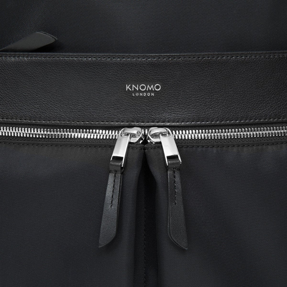 "KNOMO Beaufort Laptop Backpack Zip Detail Close Up 15.6"" -  Black 