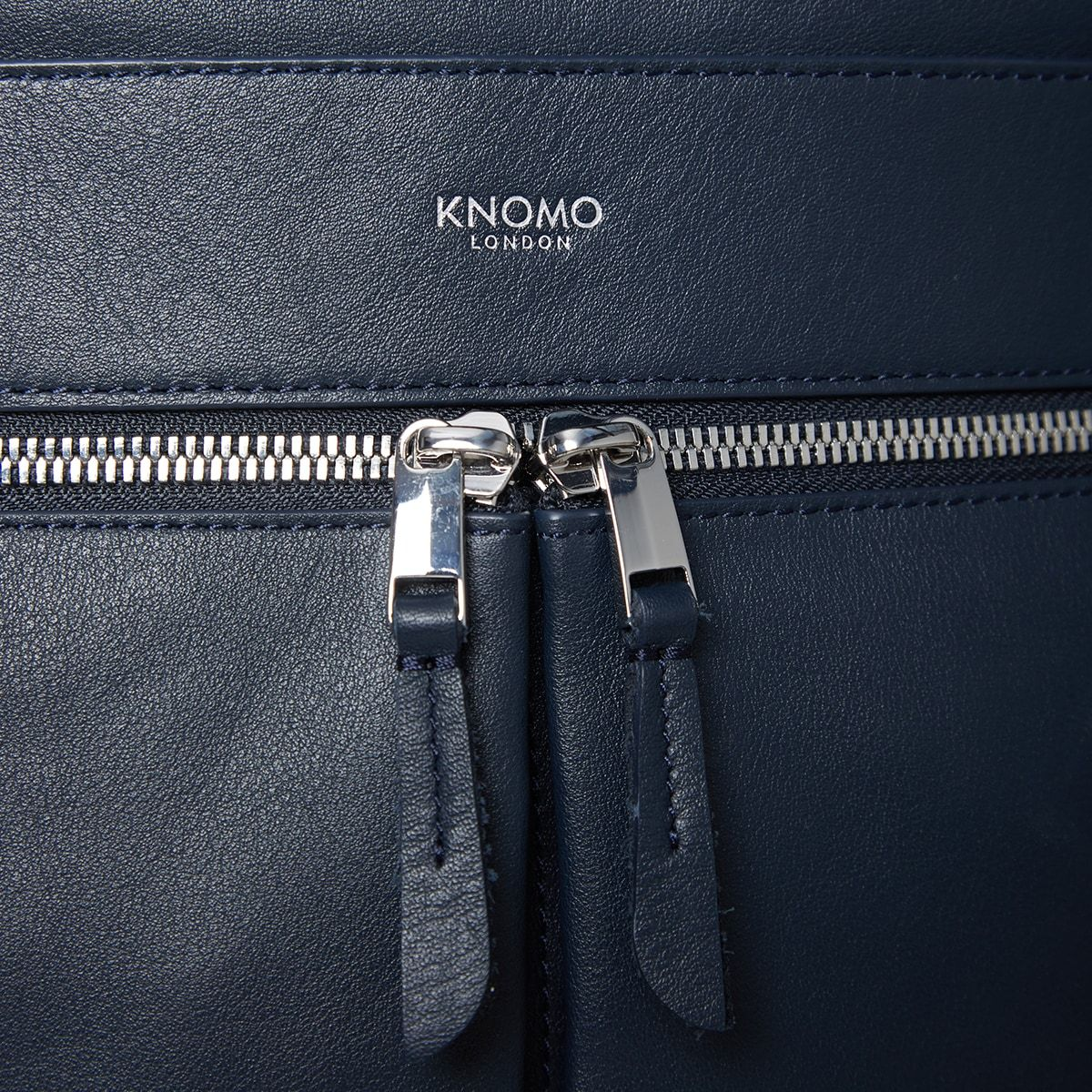 "KNOMO Beaux Leather Laptop Backpack Zip Detail Close Up 14"" -  Dark Navy Blazer 