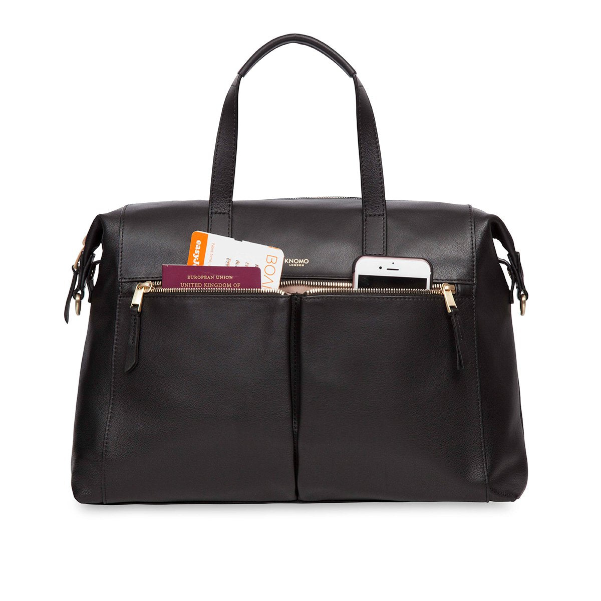 "KNOMO Audley Laptop Handbag Front Pocket With Items 14"" -  Black 