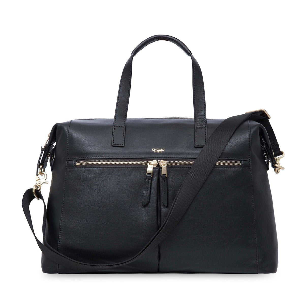 "KNOMO Audley Laptop Handbag From Front With Strap 14"" -  Black 