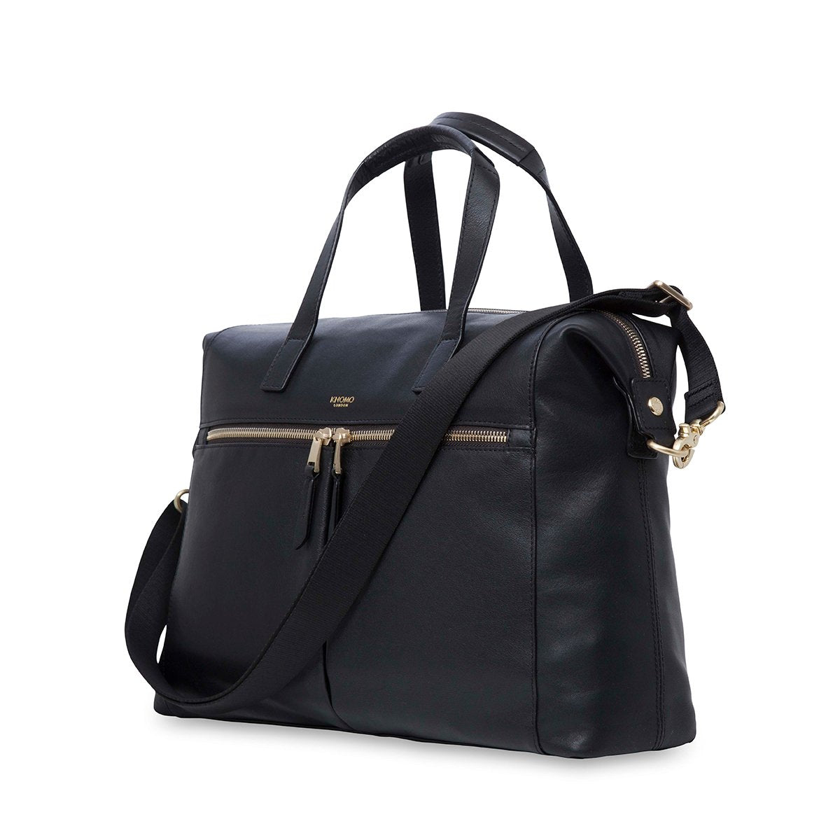 "KNOMO Audley Laptop Handbag Three Quarter View With Strap 14"" -  Black 