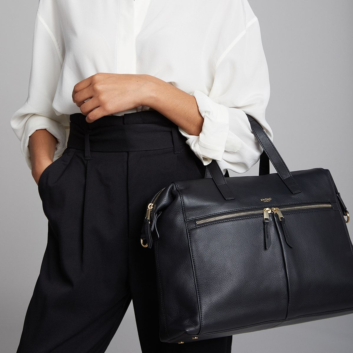 "KNOMO Audley Laptop Handbag Female Model Wearing As Tote 14"" -  Black 