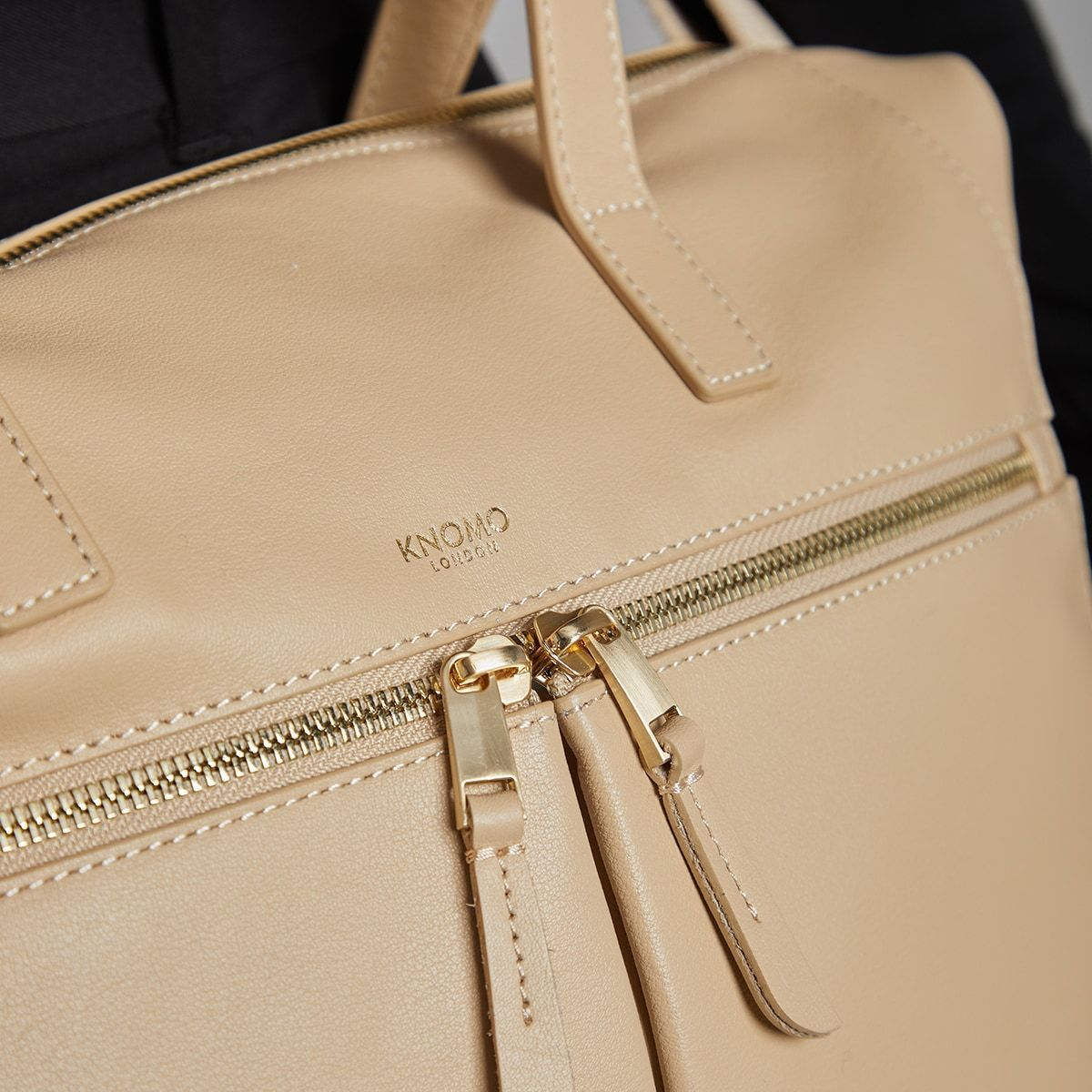 "KNOMO Audley Laptop Handbag Zip Close Up 14"" -  Trench Beige 