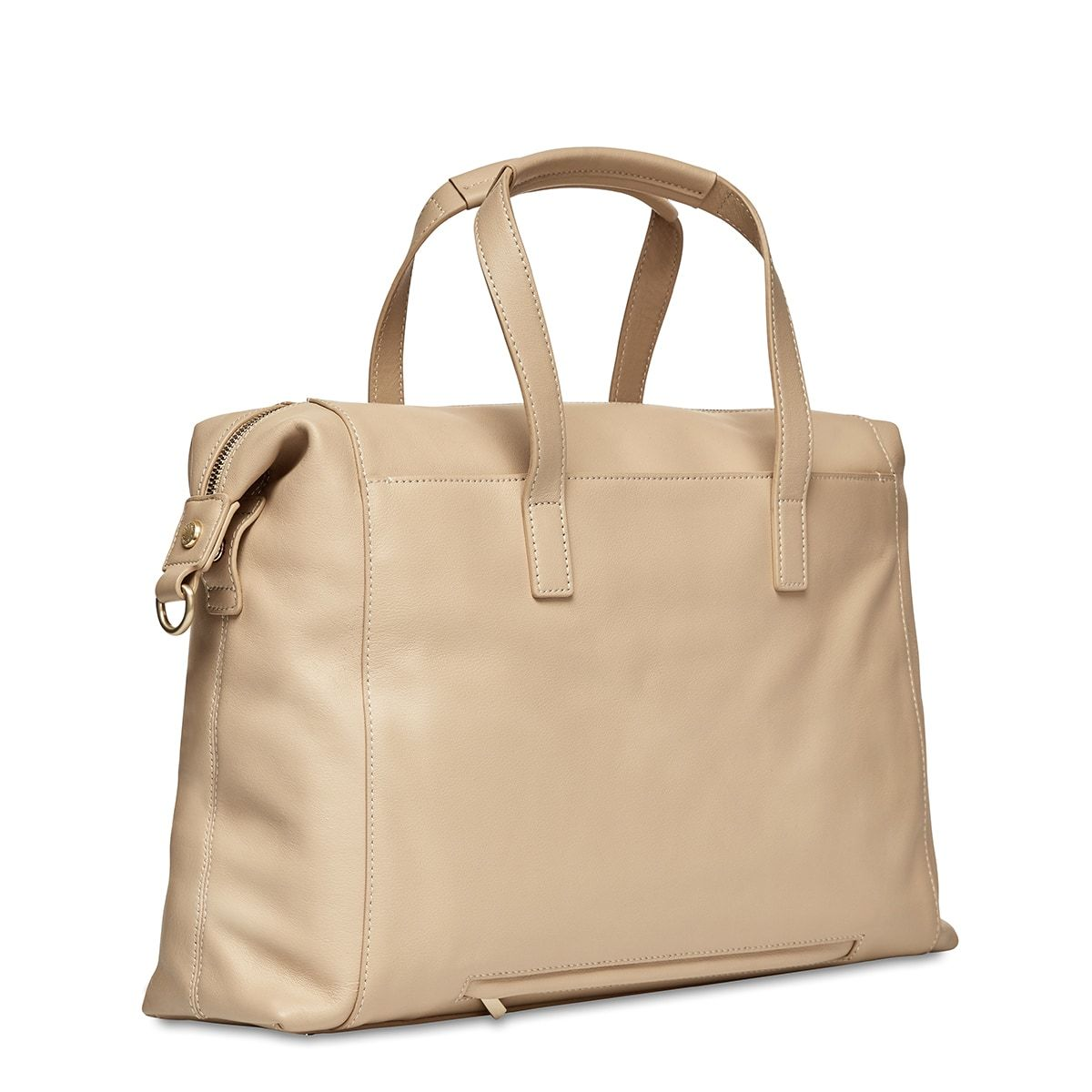 "KNOMO Audley Laptop Handbag Three Quarter View From Back 14"" -  Trench Beige 