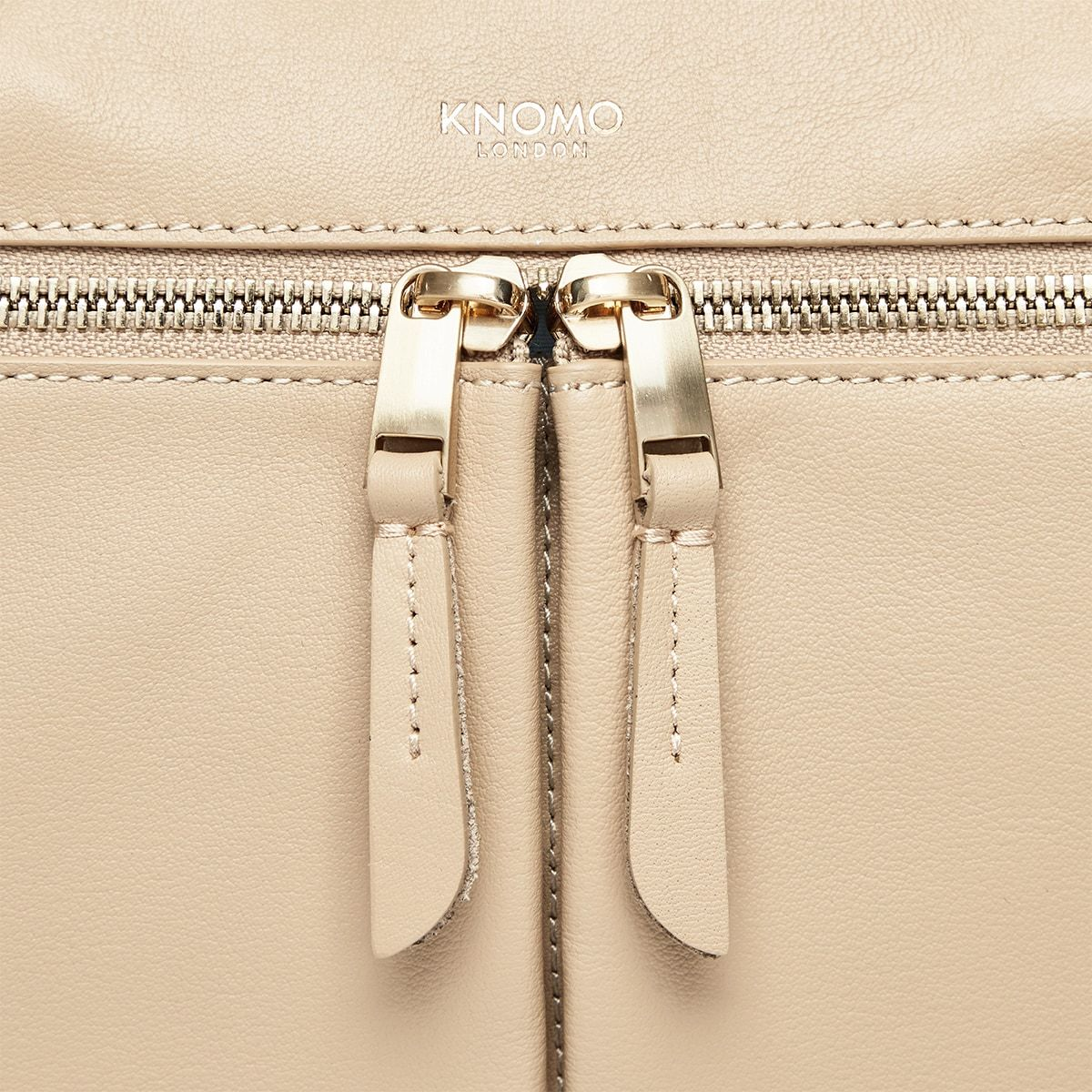 "KNOMO Audley Laptop Handbag Zip Detail Close Up 14"" -  Trench Beige 