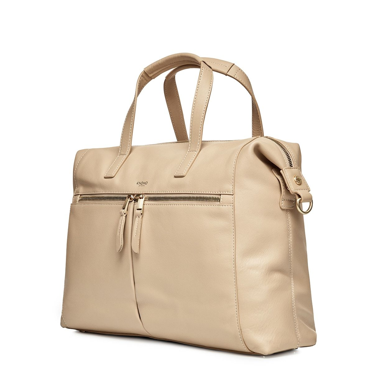 "KNOMO Audley Laptop Handbag Three Quarter View With Strap 14"" -  Trench Beige 