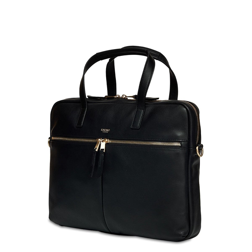 "Hanover Womens 14"" Slim Soft Leather Laptop Briefcase - Black 
