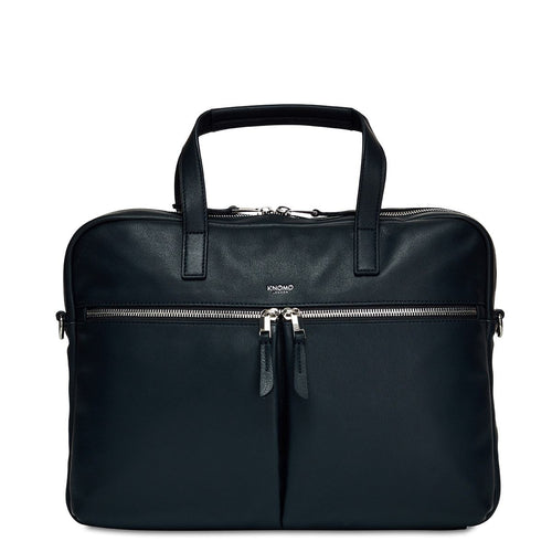 "KNOMO Hanover Leather Laptop Briefcase - 14"" From Front 