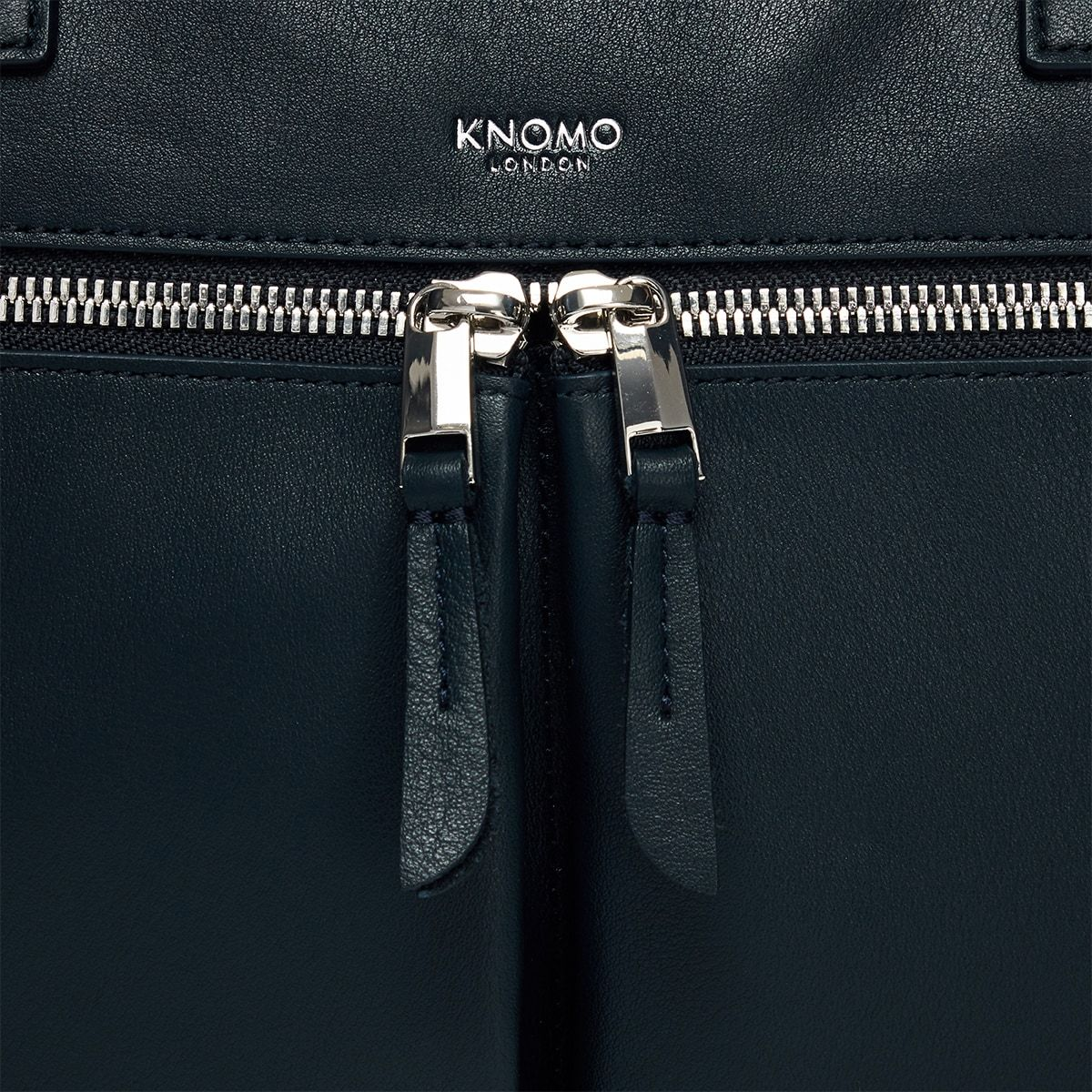 "KNOMO Hanover Laptop Briefcase Zip Detail Close Up 14"" -  Dark Navy Blazer 