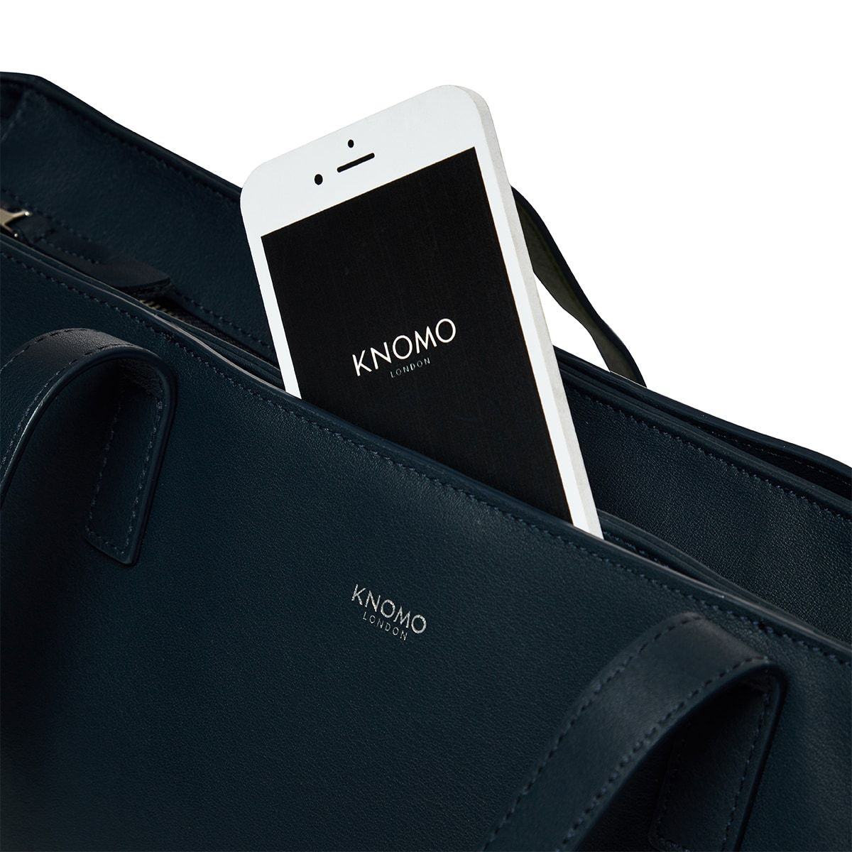 "KNOMO Maddox Laptop Tote Front Pocket Close Up 15"" -  Dark Navy Blazer 