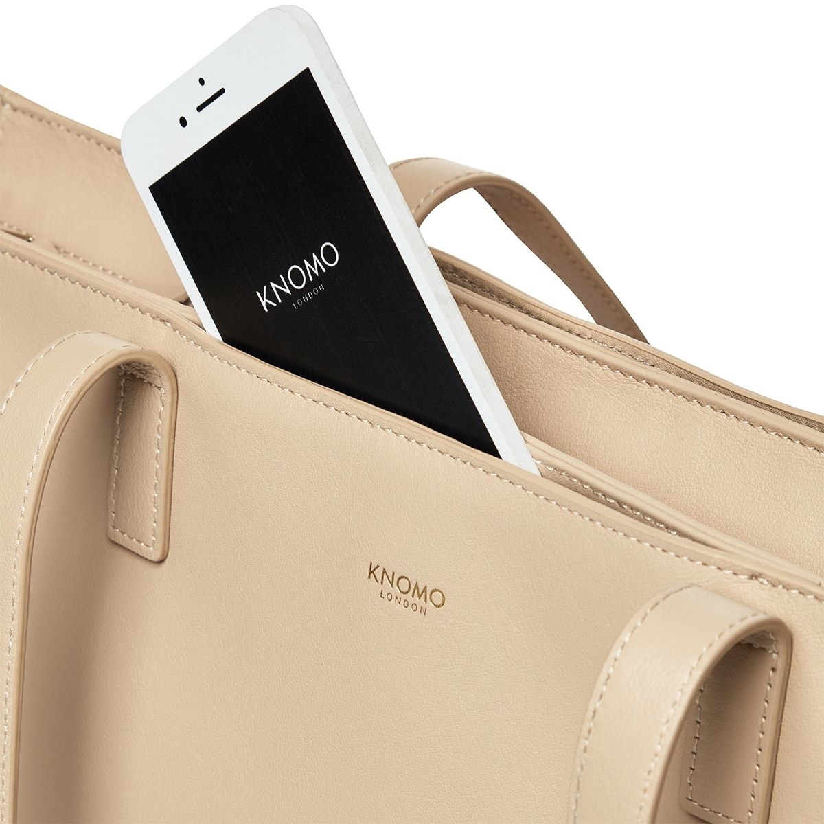 "KNOMO Maddox Laptop Tote Front Pocket Close Up 15"" -  Trench Beige 