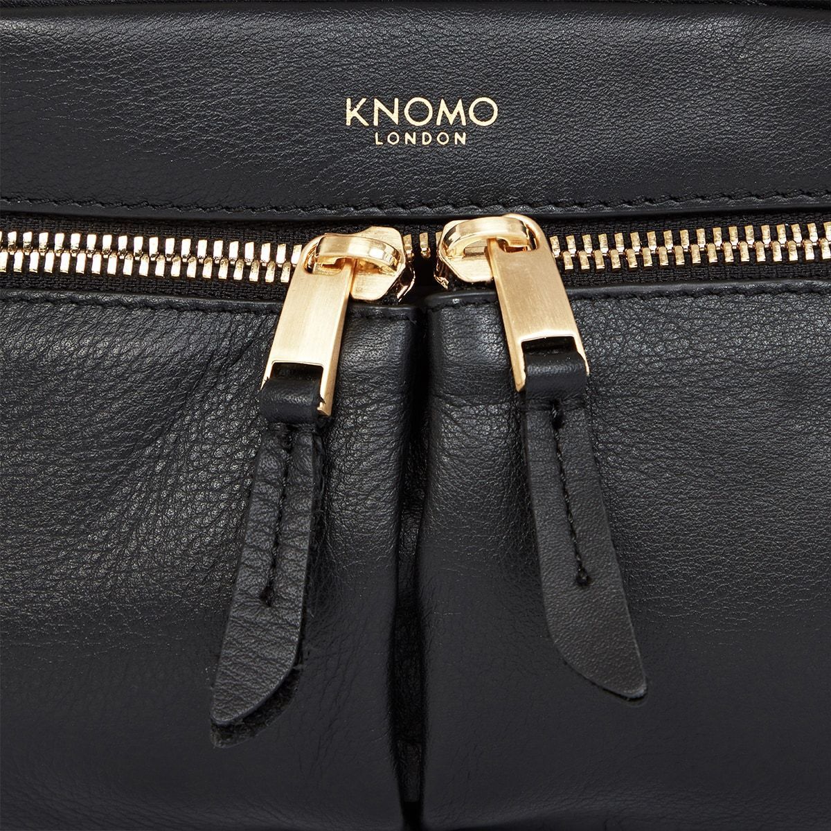 "KNOMO Brook Mini Cross-Body Zip Detail Close Up 10.5"" -  Black 