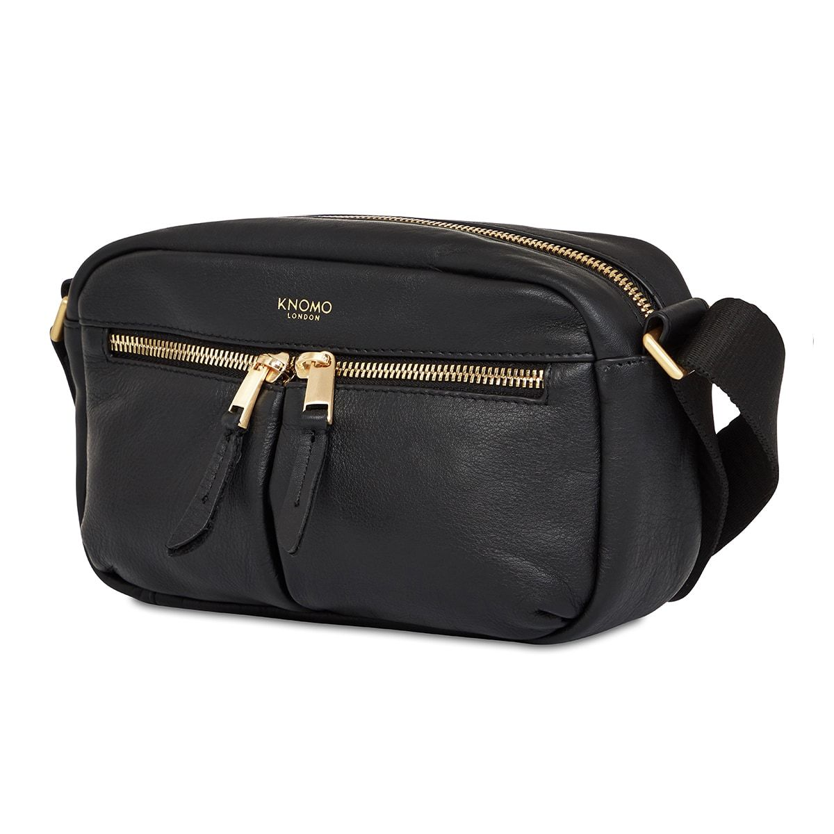 "KNOMO Brook Mini Cross-Body Three Quarter View 10.5"" -  Black 