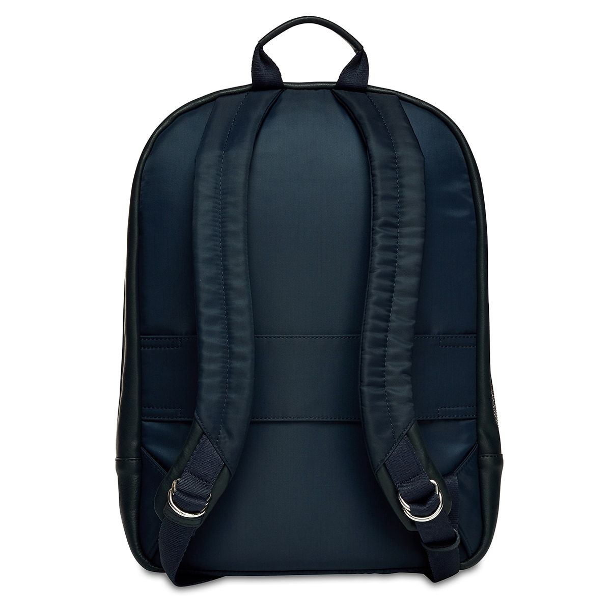 "KNOMO Beaux Leather Laptop Backpack From Back 14"" -  Dark Navy Blazer 