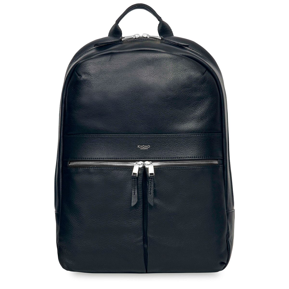 "KNOMO Beaux Leather Laptop Backpack From Front 14"" -  Dark Navy Blazer 