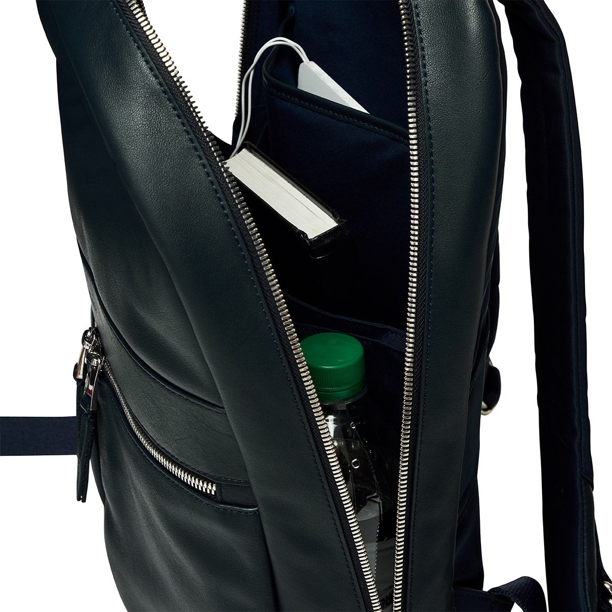 "KNOMO Beaux Leather Laptop Backpack Open From Side View 14"" -  Dark Navy Blazer 