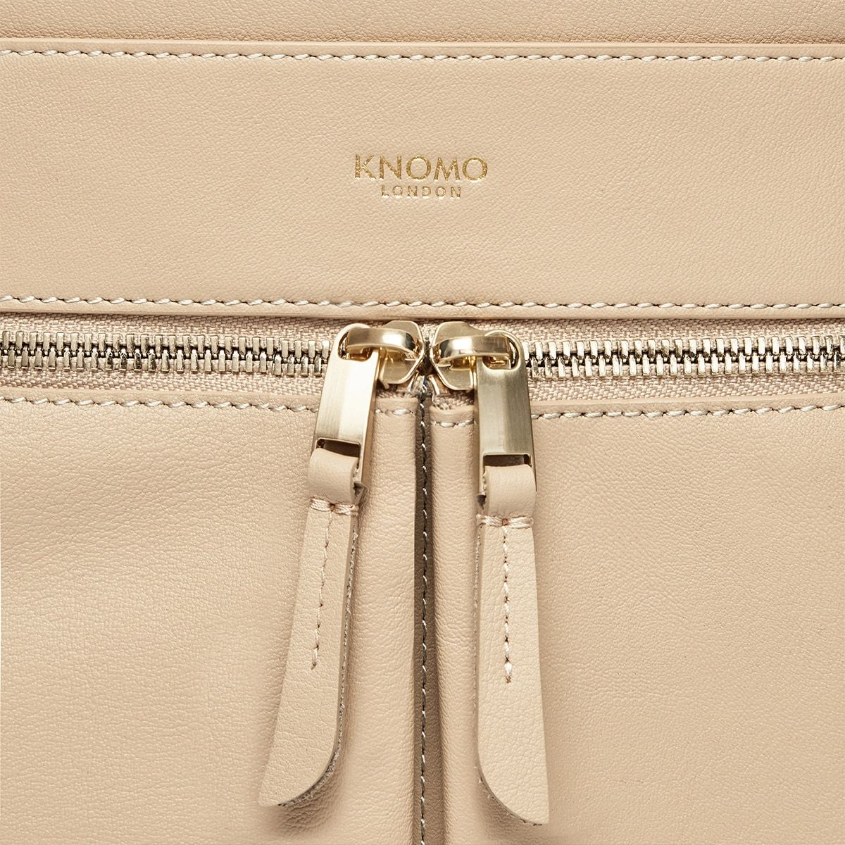 "KNOMO Beaux Laptop Backpack Zip Detail Close Up 14"" -  Trench Beige 
