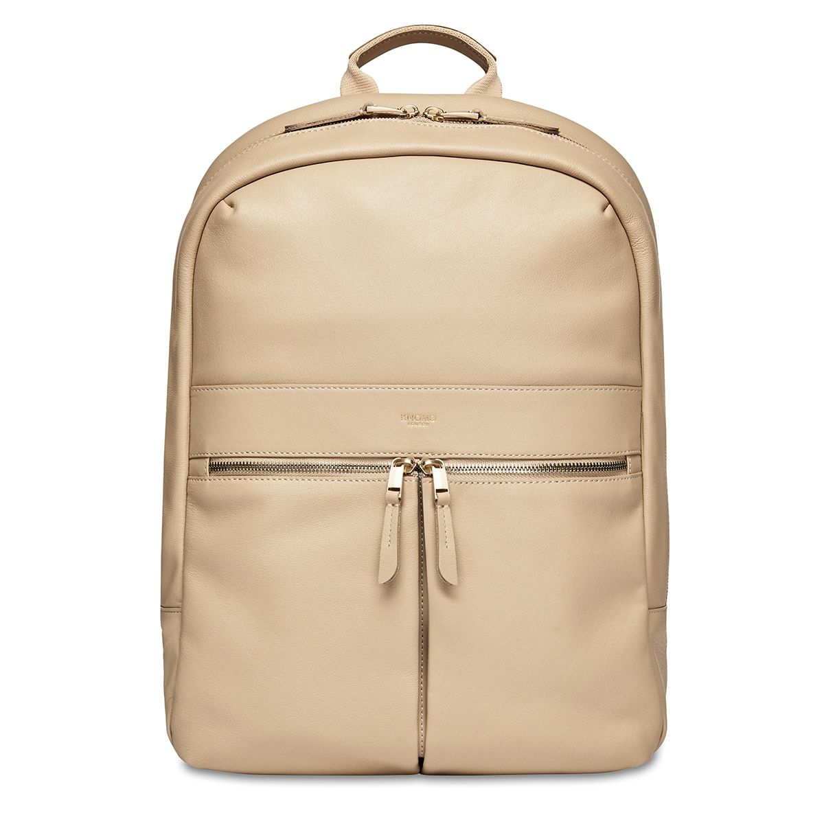 "KNOMO Beaux Laptop Backpack From Front 14"" -  Trench Beige 