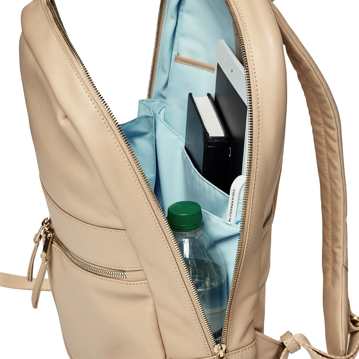 "KNOMO Beaux Laptop Backpack Open From Side View 14"" -  Trench Beige 