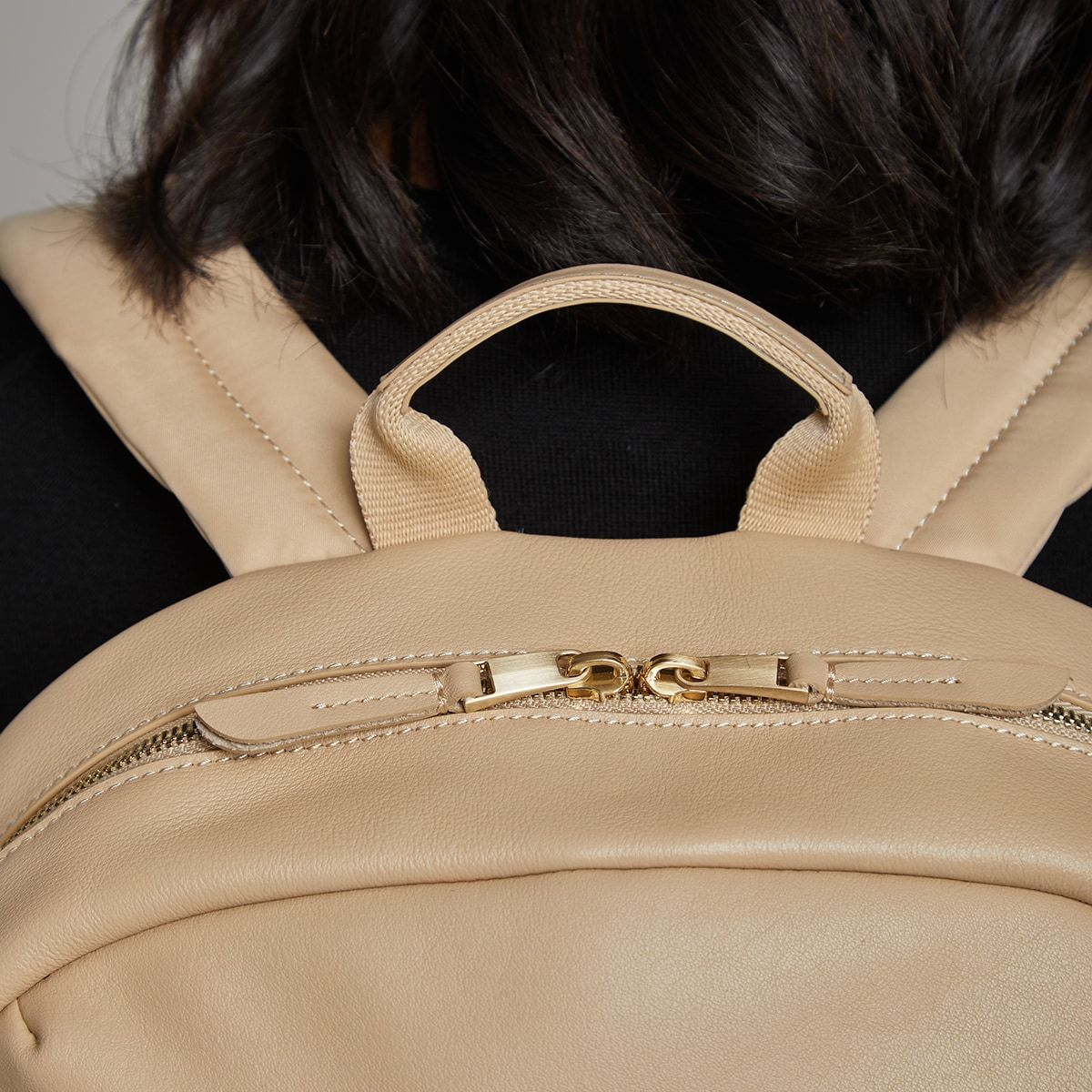 "KNOMO Beaux Laptop Backpack Zip Close Up 14"" -  Trench Beige 
