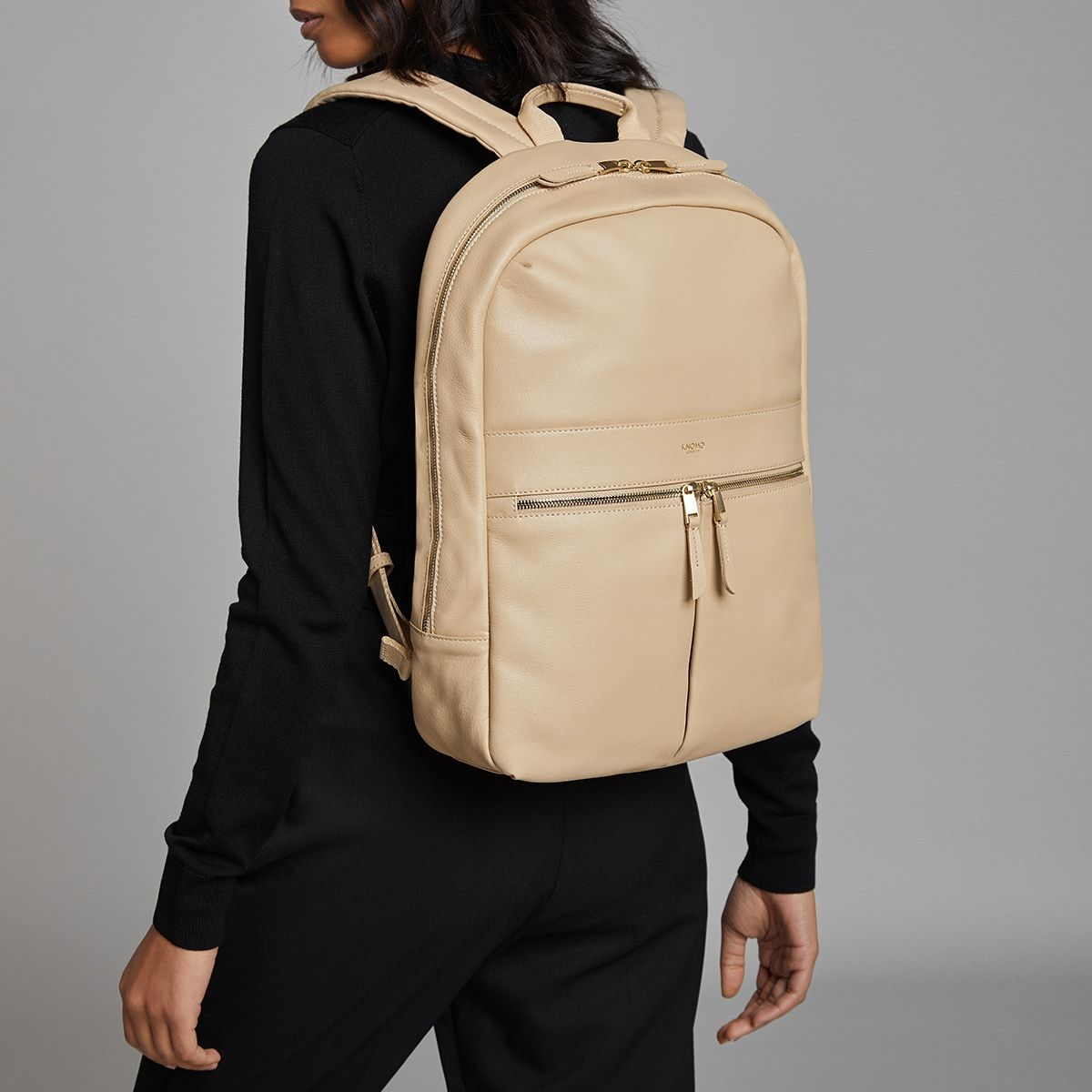 "KNOMO Beaux Laptop Backpack Female Model Wearing 14"" -  Trench Beige 
