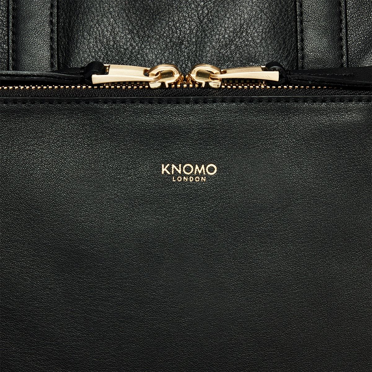 "KNOMO Harewood Laptop Tote Backpack Zip Detail Close Up 15"" -  Black 