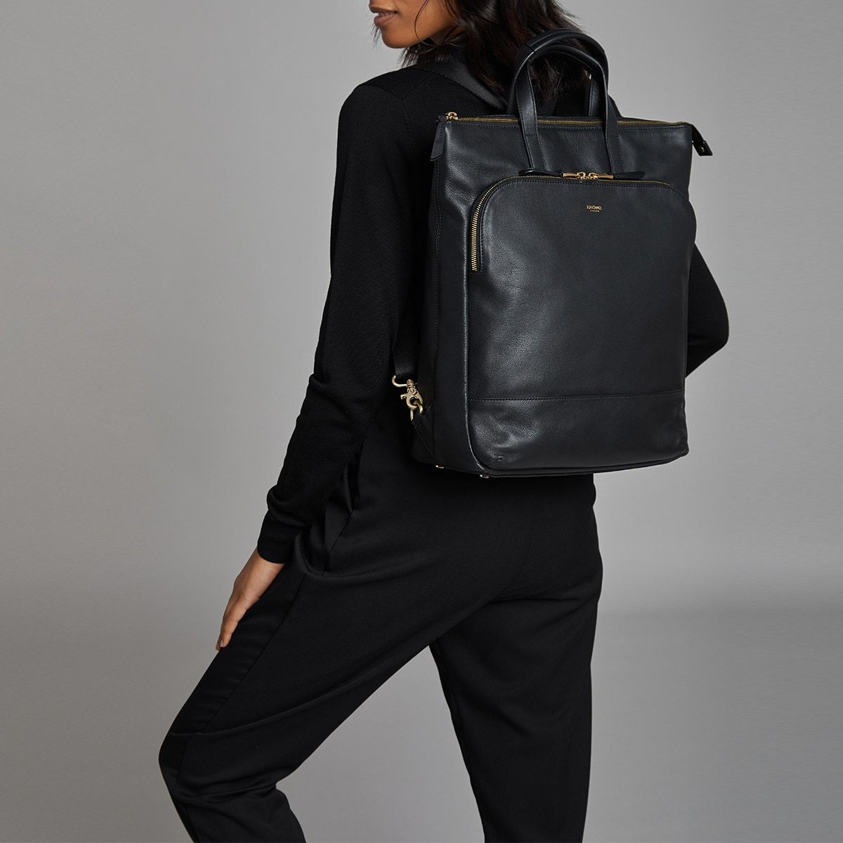 "KNOMO Harewood Laptop Tote Backpack Female Model Wearing 15"" -  Black 