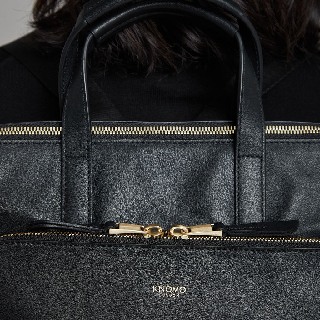 "Harewood 15"" Slim Leather Laptop Tote Backpack - Black 