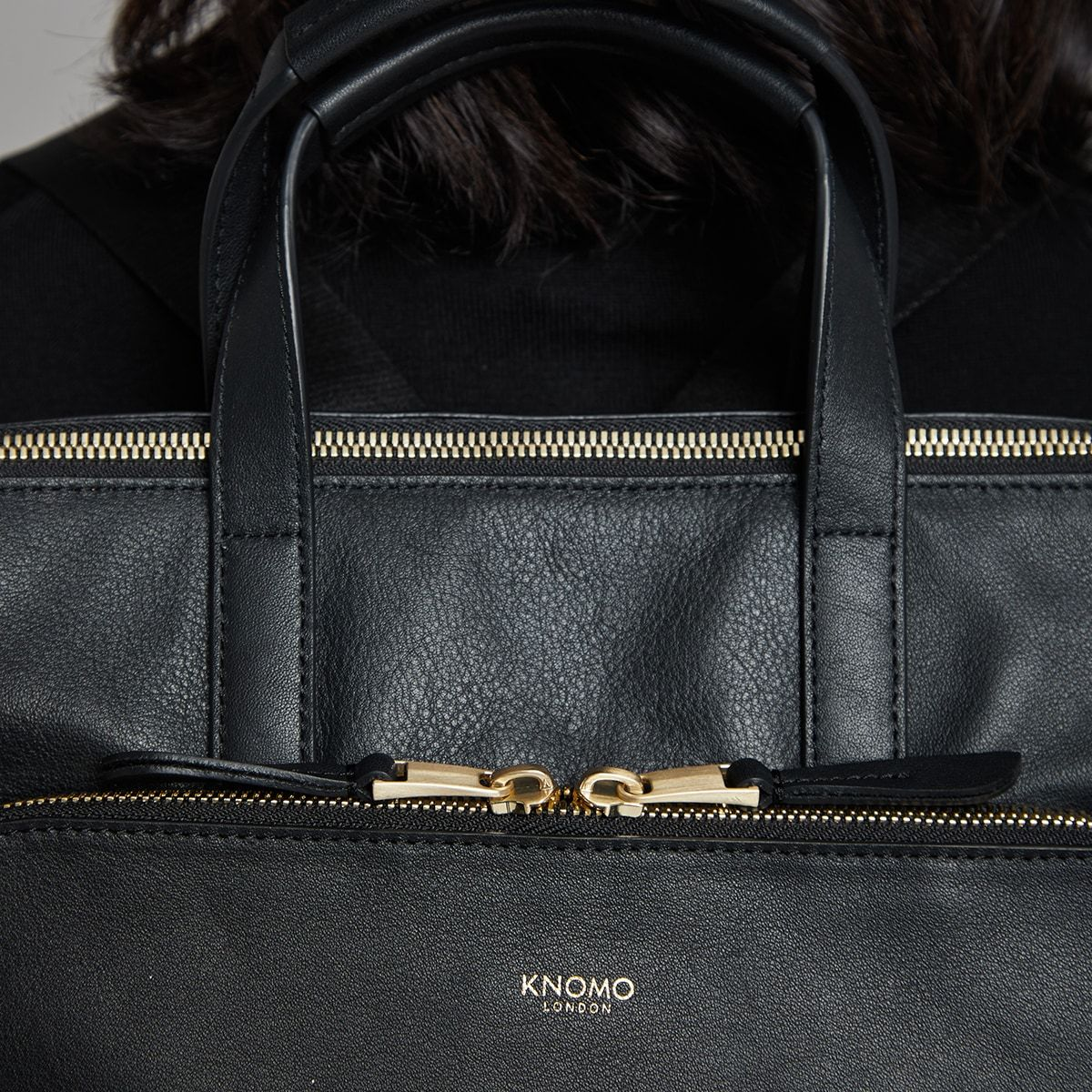 "KNOMO Harewood Laptop Tote Backpack Zip Close Up 15"" -  Black 