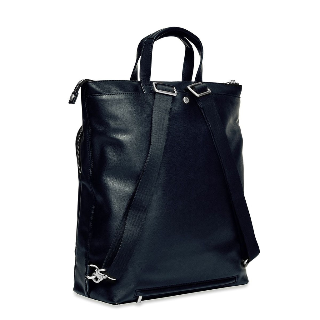 "Harewood 15"" Slim Leather Laptop Tote Backpack - Dark Navy Blazer 