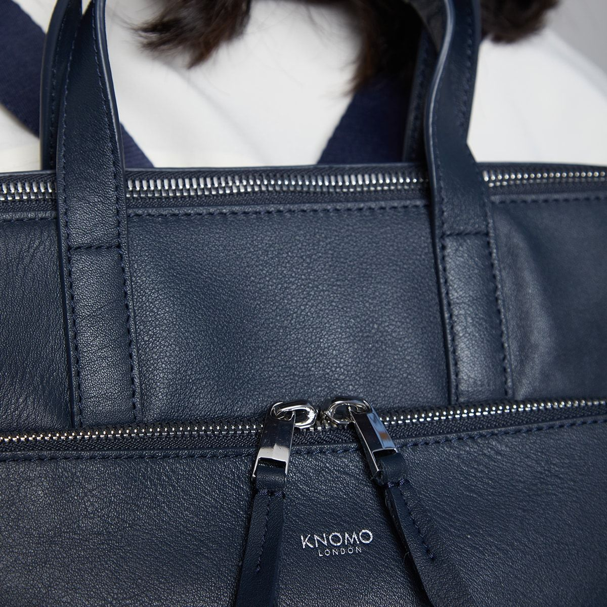"KNOMO Harewood Laptop Tote Backpack Zip Detail Close Up 15"" -  Dark Navy Blazer 
