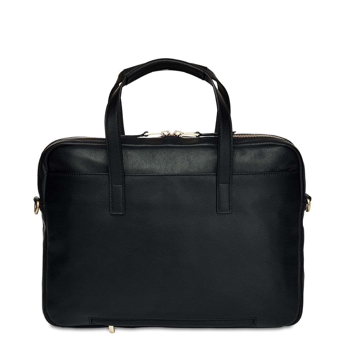 "Hanover Leather Laptop Briefcase - 14"" -  Black 