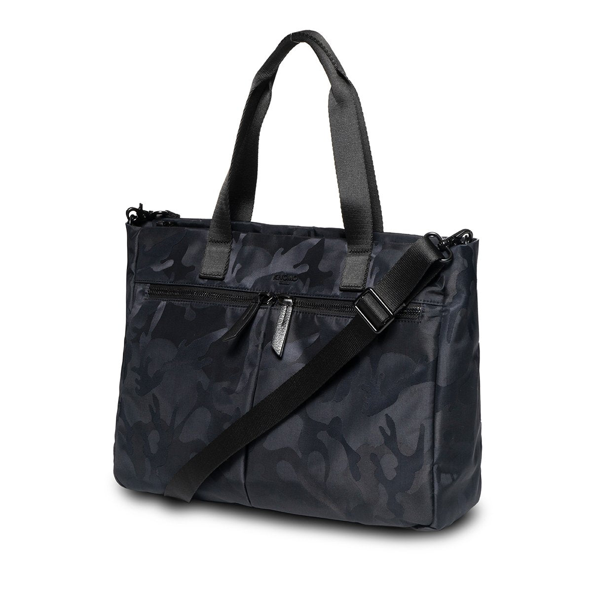 "KNOMO Cologne Tote Three Quarter View With Strap 14"" -  Black Camouflage 
