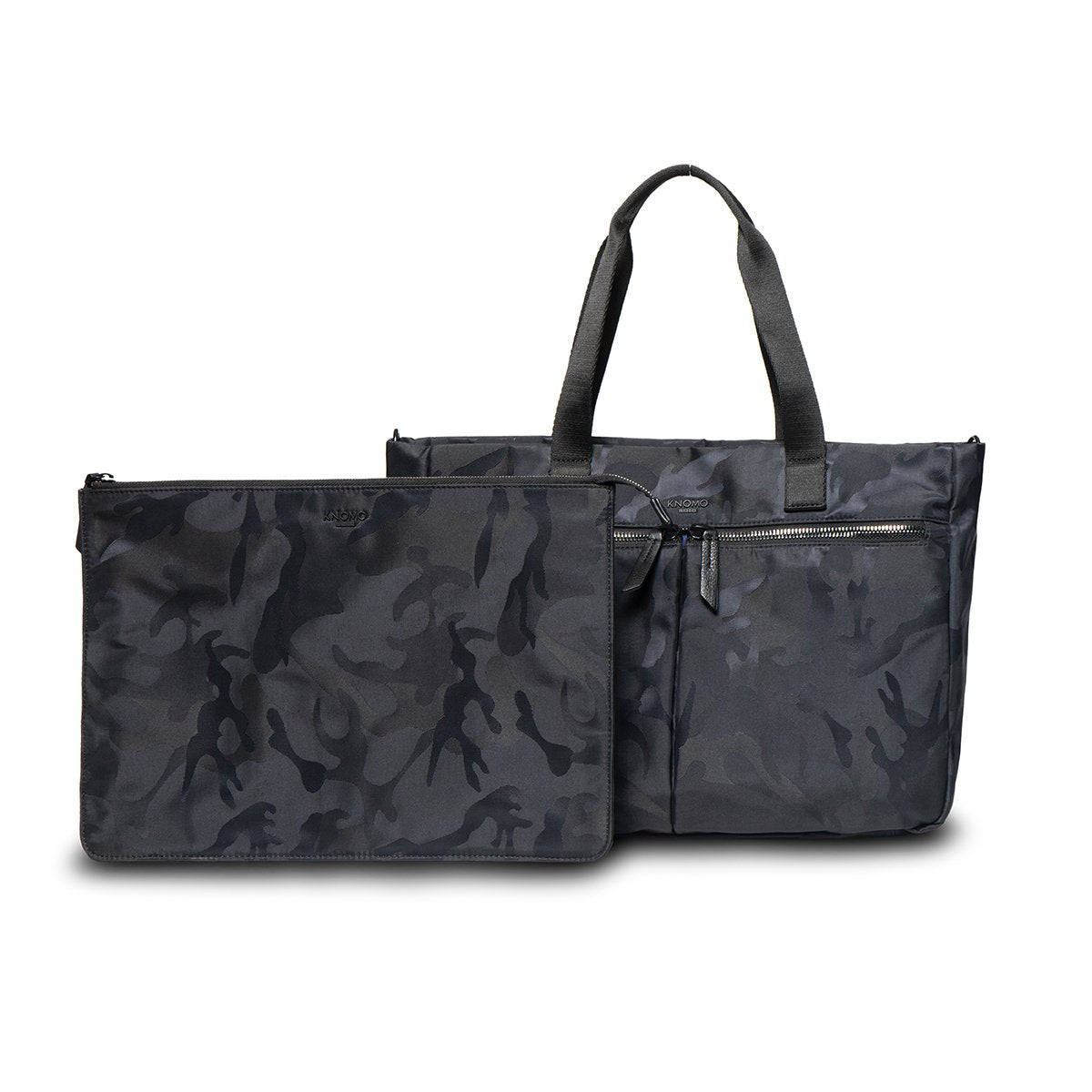 "KNOMO Cologne Tote From Front With Laptop Sleeve 14"" -  Black Camouflage 