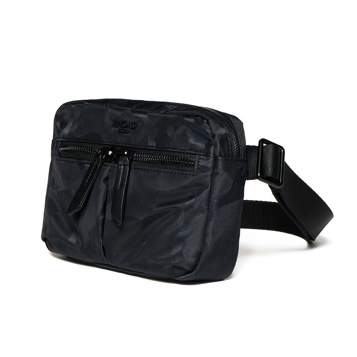 "KNOMO Hanoi Mini Cross-Body Three Quarter View 10.5"" -  Black Camouflage 