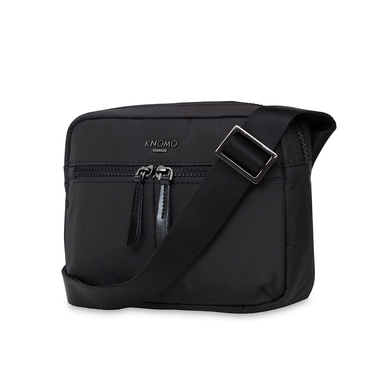 "KNOMO Palermo Ultra Lightweight X-Body Three Quarter View With Strap 10.5"" -  Black 