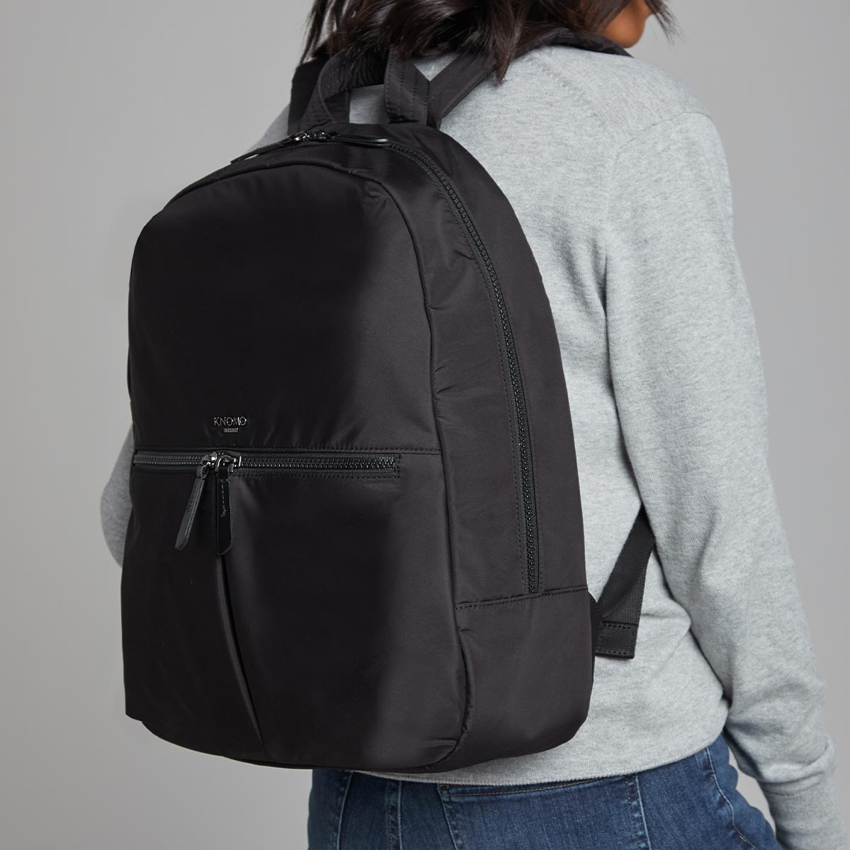 "KNOMO Berlin Laptop Backpack Female Model Wearing 15"" -  Black 